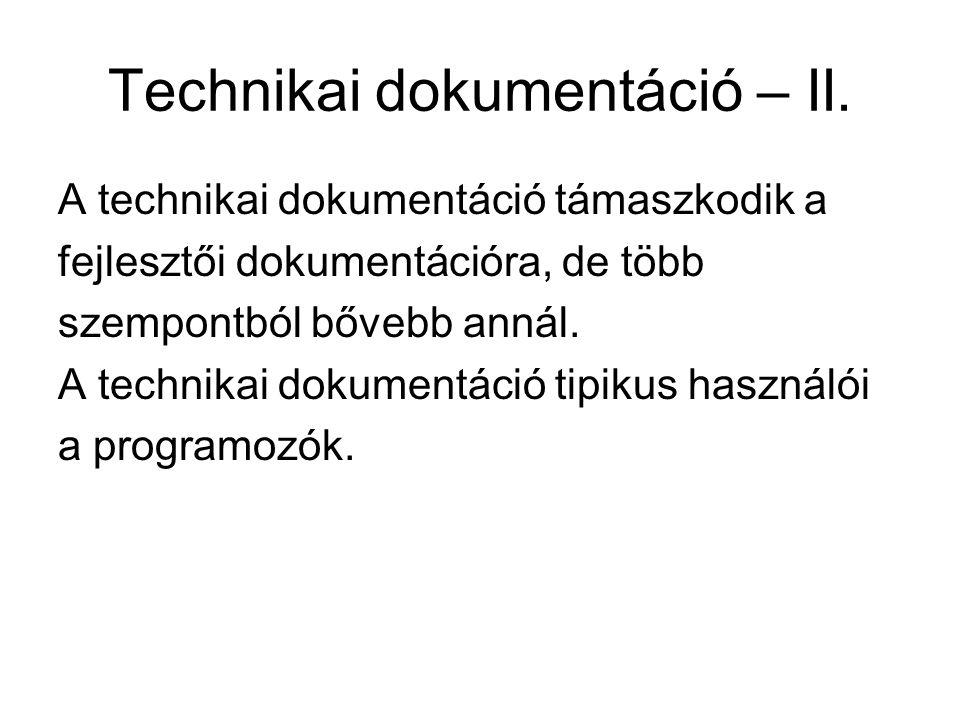 Technikai dokumentáció – II.