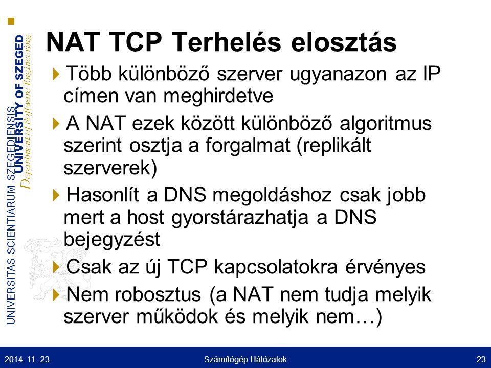 UNIVERSITY OF SZEGED D epartment of Software Engineering UNIVERSITAS SCIENTIARUM SZEGEDIENSIS NAT TCP Terhelés elosztás  Több különböző szerver ugyan