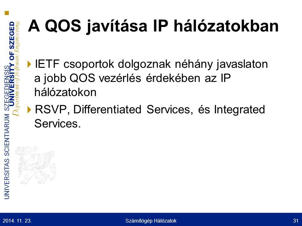 UNIVERSITY OF SZEGED D epartment of Software Engineering UNIVERSITAS SCIENTIARUM SZEGEDIENSIS A QOS javítása IP hálózatokban  IETF csoportok dolgozna