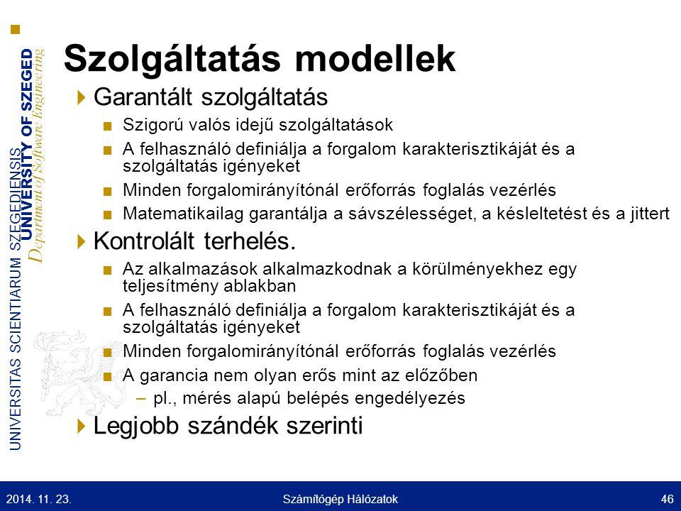 UNIVERSITY OF SZEGED D epartment of Software Engineering UNIVERSITAS SCIENTIARUM SZEGEDIENSIS Szolgáltatás modellek  Garantált szolgáltatás ■Szigorú