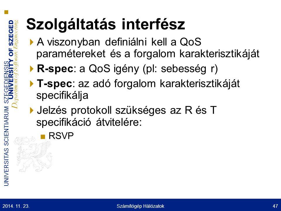 UNIVERSITY OF SZEGED D epartment of Software Engineering UNIVERSITAS SCIENTIARUM SZEGEDIENSIS Szolgáltatás interfész  A viszonyban definiálni kell a