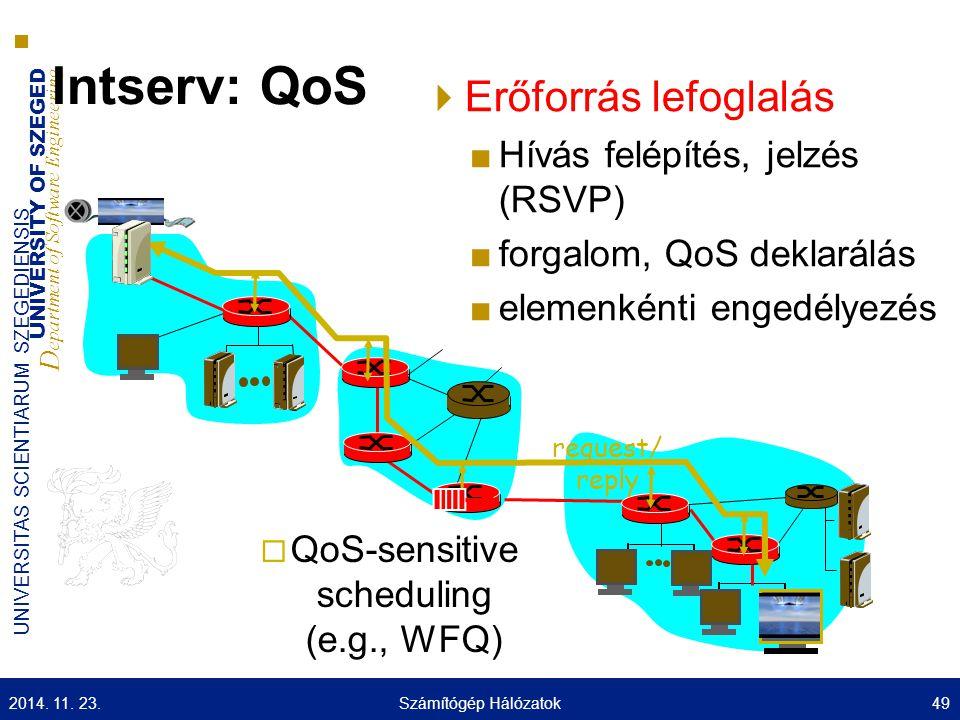 UNIVERSITY OF SZEGED D epartment of Software Engineering UNIVERSITAS SCIENTIARUM SZEGEDIENSIS Intserv: QoS  Erőforrás lefoglalás ■Hívás felépítés, je