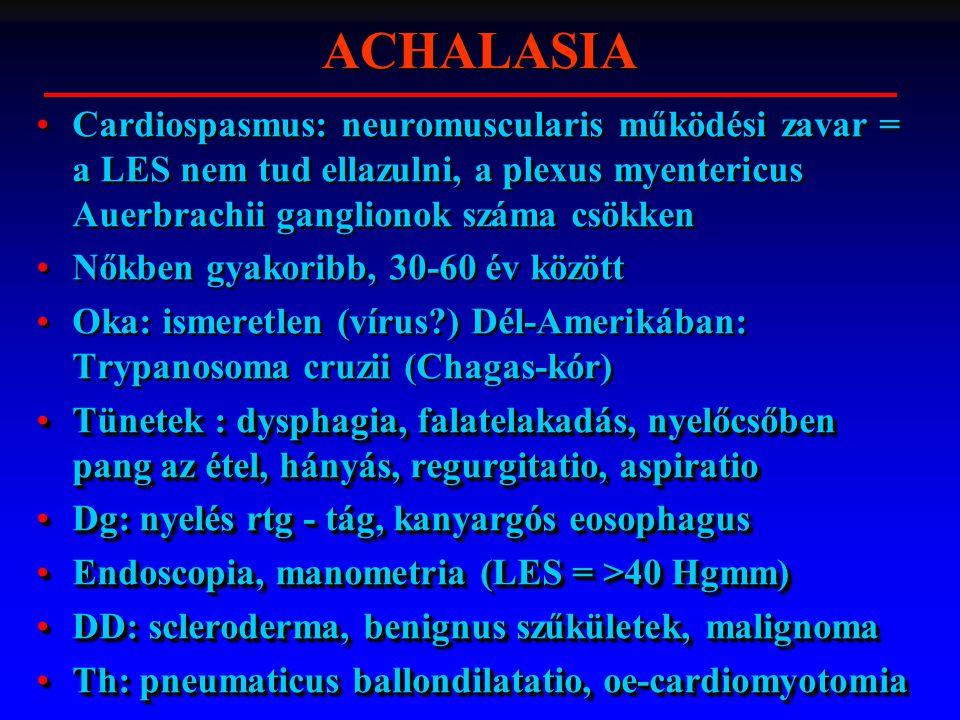 Cardiospasmus: neuromuscularis működési zavar = a LES nem tud ellazulni, a plexus myentericus Auerbrachii ganglionok száma csökken Nőkben gyakoribb, 30-60 év között Oka: ismeretlen (vírus?) Dél-Amerikában: Trypanosoma cruzii (Chagas-kór) Tünetek : dysphagia, falatelakadás, nyelőcsőben pang az étel, hányás, regurgitatio, aspiratioTünetek : dysphagia, falatelakadás, nyelőcsőben pang az étel, hányás, regurgitatio, aspiratio Dg: nyelés rtg - tág, kanyargós eosophagusDg: nyelés rtg - tág, kanyargós eosophagus Endoscopia, manometria (LES = >40 Hgmm)Endoscopia, manometria (LES = >40 Hgmm) DD: scleroderma, benignus szűkületek, malignomaDD: scleroderma, benignus szűkületek, malignoma Th: pneumaticus ballondilatatio, oe-cardiomyotomiaTh: pneumaticus ballondilatatio, oe-cardiomyotomia Cardiospasmus: neuromuscularis működési zavar = a LES nem tud ellazulni, a plexus myentericus Auerbrachii ganglionok száma csökken Nőkben gyakoribb, 30-60 év között Oka: ismeretlen (vírus?) Dél-Amerikában: Trypanosoma cruzii (Chagas-kór) Tünetek : dysphagia, falatelakadás, nyelőcsőben pang az étel, hányás, regurgitatio, aspiratioTünetek : dysphagia, falatelakadás, nyelőcsőben pang az étel, hányás, regurgitatio, aspiratio Dg: nyelés rtg - tág, kanyargós eosophagusDg: nyelés rtg - tág, kanyargós eosophagus Endoscopia, manometria (LES = >40 Hgmm)Endoscopia, manometria (LES = >40 Hgmm) DD: scleroderma, benignus szűkületek, malignomaDD: scleroderma, benignus szűkületek, malignoma Th: pneumaticus ballondilatatio, oe-cardiomyotomiaTh: pneumaticus ballondilatatio, oe-cardiomyotomia ACHALASIA