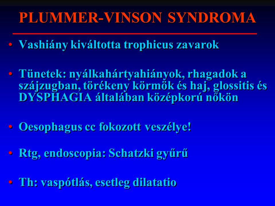 Vashiány kiváltotta trophicus zavarok Tünetek: nyálkahártyahiányok, rhagadok a szájzugban, törékeny körmök és haj, glossitis és DYSPHAGIA általában középkorú nőkön Oesophagus cc fokozott veszélye.