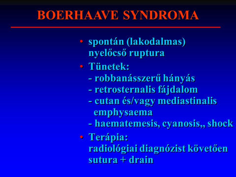 spontán (lakodalmas) nyelőcső ruptura Tünetek: - robbanásszerű hányás - retrosternalis fájdalom - cutan és/vagy mediastinalis emphysaema - haematemesis, cyanosis,, shock Terápia: radiológiai diagnózist követően sutura + drain spontán (lakodalmas) nyelőcső ruptura Tünetek: - robbanásszerű hányás - retrosternalis fájdalom - cutan és/vagy mediastinalis emphysaema - haematemesis, cyanosis,, shock Terápia: radiológiai diagnózist követően sutura + drain BOERHAAVE SYNDROMA