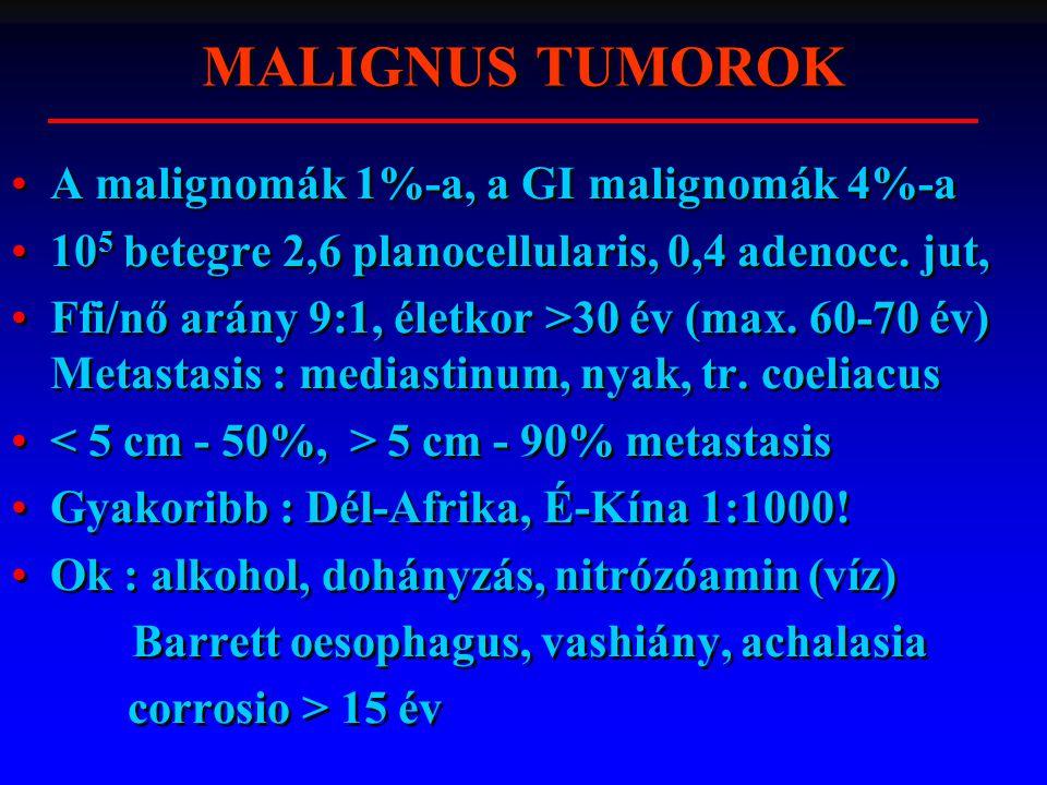A malignomák 1%-a, a GI malignomák 4%-a 10 5 betegre 2,6 planocellularis, 0,4 adenocc.