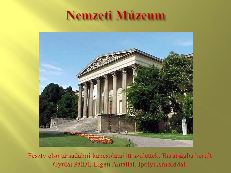 Feszty első társadalmi kapcsolatai itt születtek. Barátságba került Gyulai Pállal, Ligeti Antallal, Ipolyi Arnolddal.