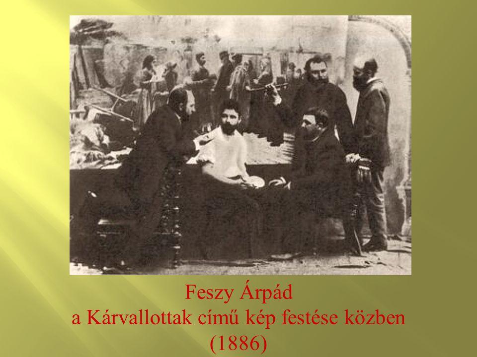 Feszy Árpád a Kárvallottak című kép festése közben (1886)