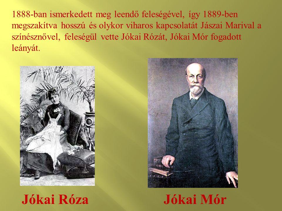 Jókai Róza 1888-ban ismerkedett meg leendő feleségével, így 1889-ben megszakítva hosszú és olykor viharos kapcsolatát Jászai Marival a színésznővel, f