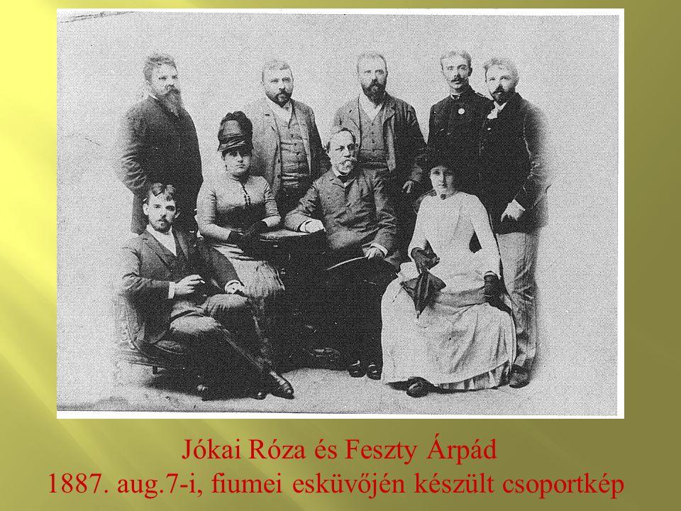 Jókai Róza és Feszty Árpád 1887. aug.7-i, fiumei esküvőjén készült csoportkép