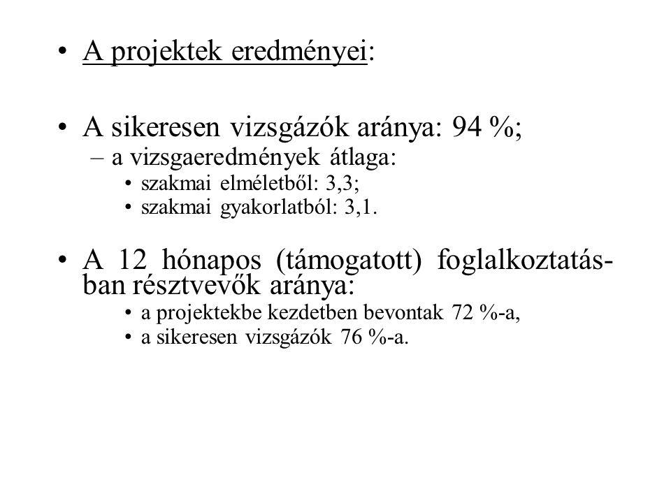 A projektek eredményei: A sikeresen vizsgázók aránya: 94 %; –a vizsgaeredmények átlaga: szakmai elméletből: 3,3; szakmai gyakorlatból: 3,1.