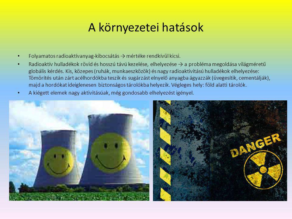 Az atomerőmű előnyei, hátrányai a hőerőművel szemben: Előnyök: Az üzemanyag rendkívül nagy fajlagos energiatartalma.