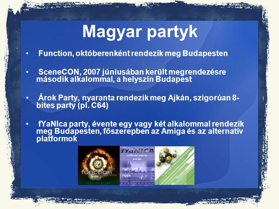 Magyar partyk Function, októberenként rendezik meg Budapesten SceneCON, 2007 júniusában került megrendezésre második alkalommal, a helyszín Budapest Á