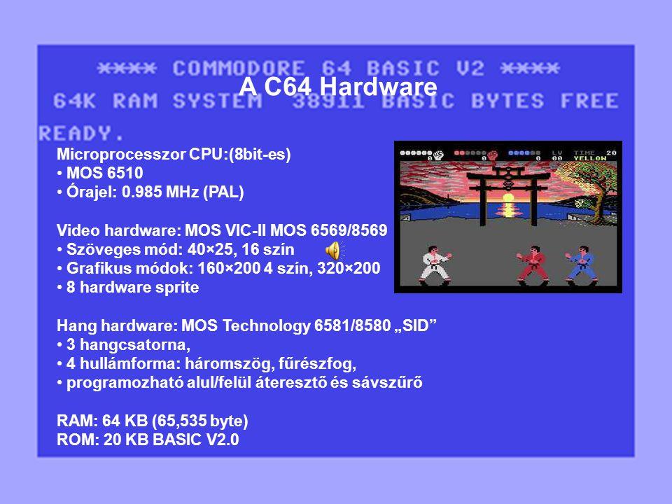 Microprocesszor CPU:(8bit-es) MOS 6510 Órajel: 0.985 MHz (PAL) Video hardware: MOS VIC-II MOS 6569/8569 Szöveges mód: 40×25, 16 szín Grafikus módok: 1