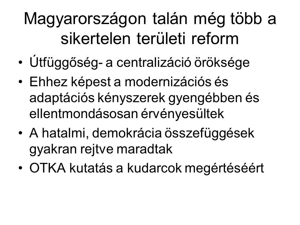 Magyarországon talán még több a sikertelen területi reform Útfüggőség- a centralizáció öröksége Ehhez képest a modernizációs és adaptációs kényszerek gyengébben és ellentmondásosan érvényesültek A hatalmi, demokrácia összefüggések gyakran rejtve maradtak OTKA kutatás a kudarcok megértéséért