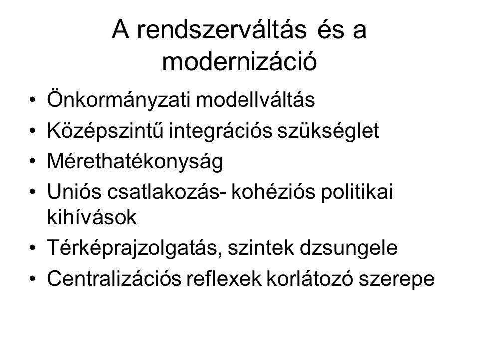 A rendszerváltás és a modernizáció Önkormányzati modellváltás Középszintű integrációs szükséglet Mérethatékonyság Uniós csatlakozás- kohéziós politikai kihívások Térképrajzolgatás, szintek dzsungele Centralizációs reflexek korlátozó szerepe