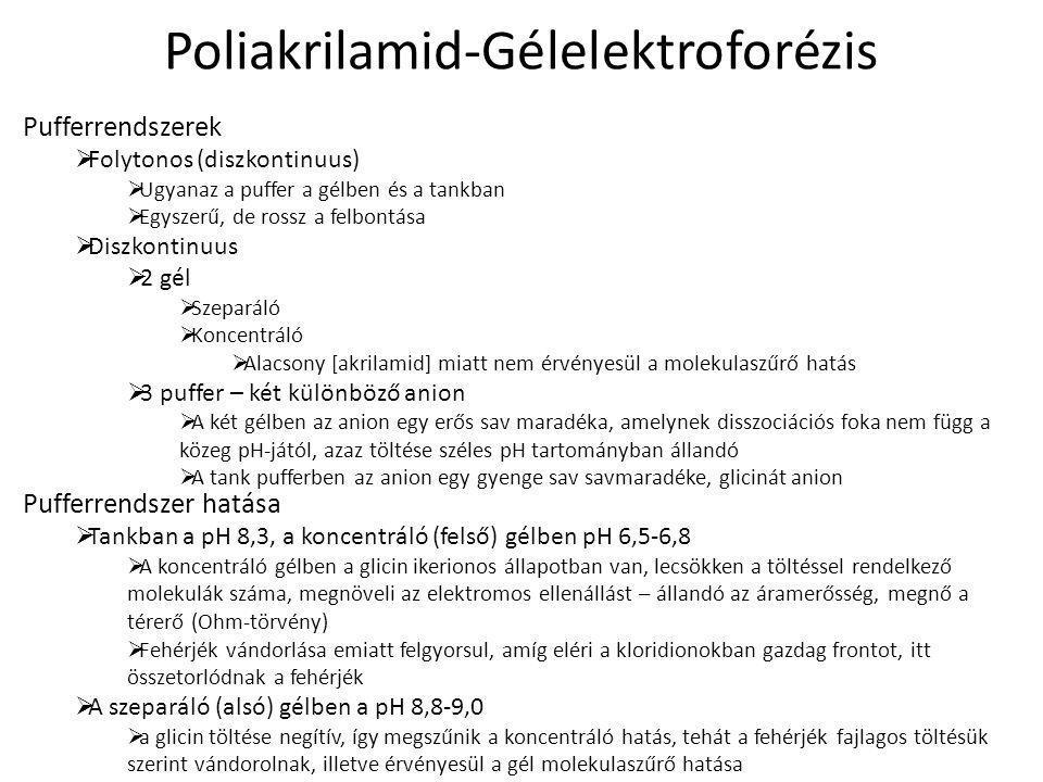 Poliakrilamid-Gélelektroforézis Pufferrendszerek  Folytonos (diszkontinuus)  Ugyanaz a puffer a gélben és a tankban  Egyszerű, de rossz a felbontás