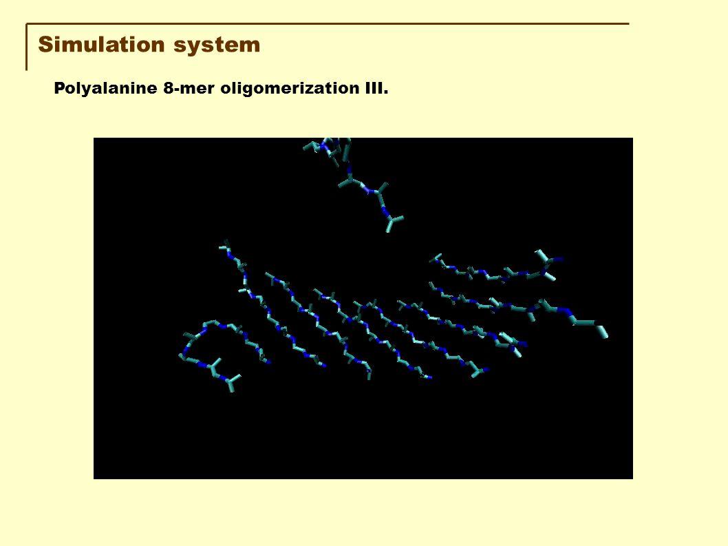Simulation system Polyalanine 8-mer oligomerization III.