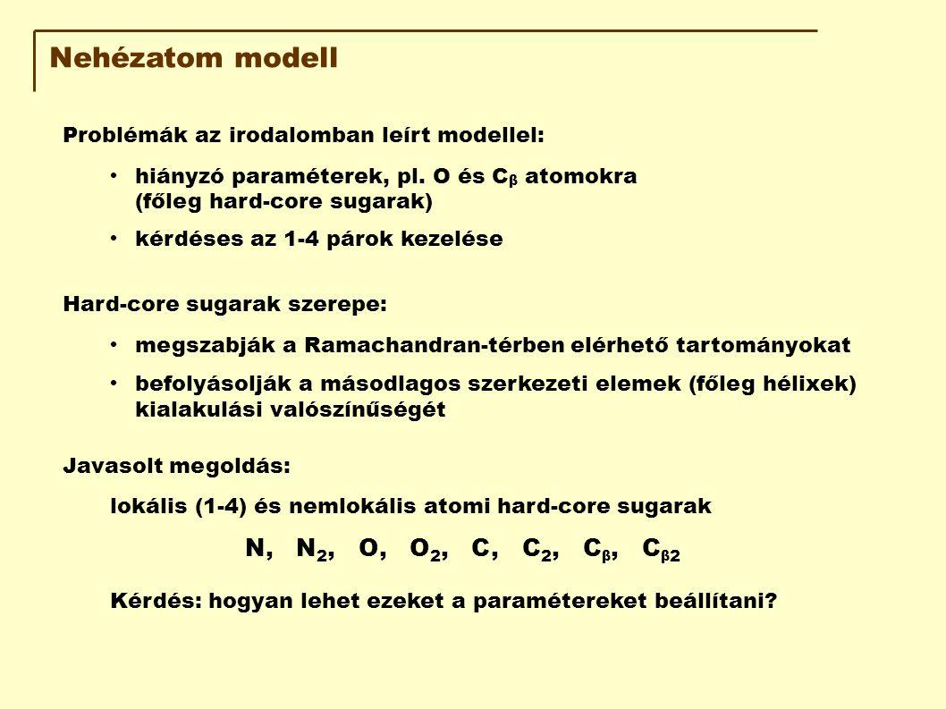 Nehézatom modell Problémák az irodalomban leírt modellel: hiányzó paraméterek, pl. O és C β atomokra (főleg hard-core sugarak) kérdéses az 1-4 párok k