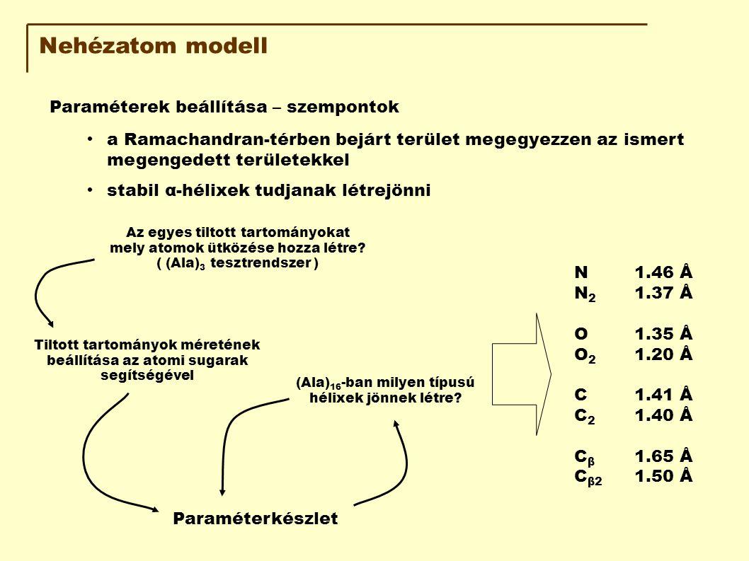 Nehézatom modell Paraméterek beállítása – szempontok a Ramachandran-térben bejárt terület megegyezzen az ismert megengedett területekkel stabil α-hélixek tudjanak létrejönni Az egyes tiltott tartományokat mely atomok ütközése hozza létre.
