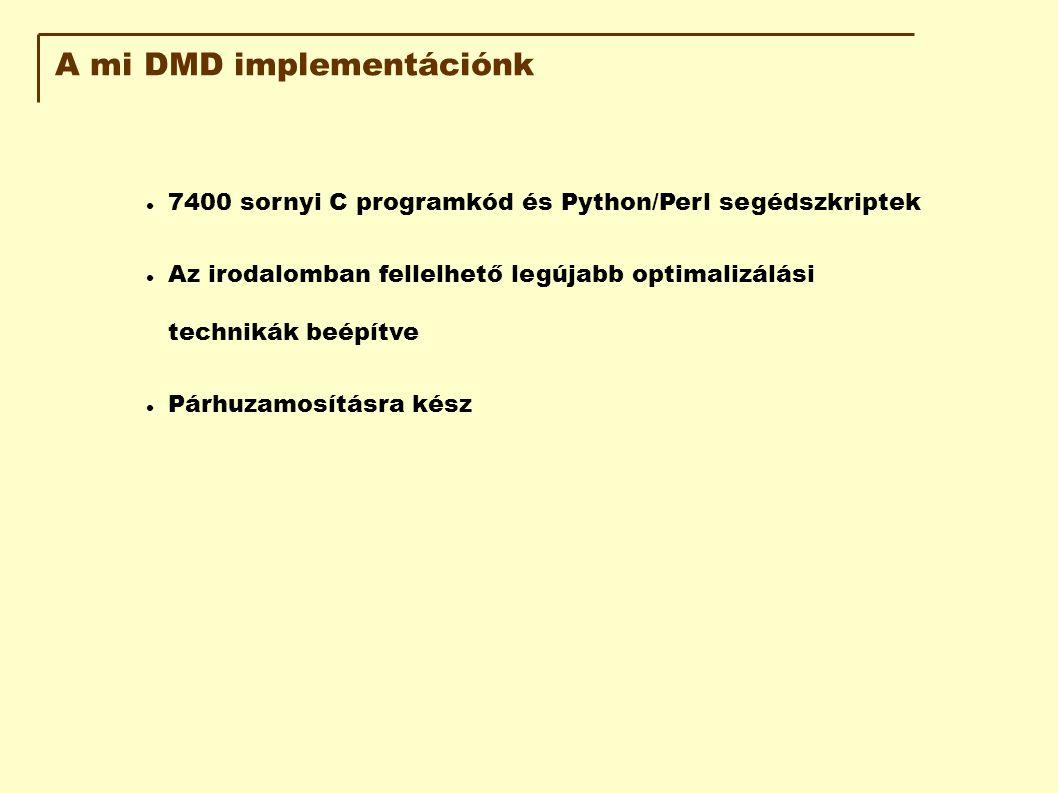 A mi DMD implementációnk 7400 sornyi C programkód és Python/Perl segédszkriptek Az irodalomban fellelhető legújabb optimalizálási technikák beépítve Párhuzamosításra kész