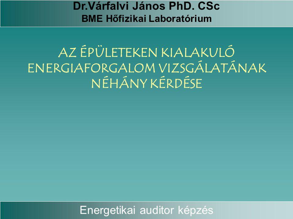 AZ ÉPÜLETEKEN KIALAKULÓ ENERGIAFORGALOM VIZSGÁLATÁNAK NÉHÁNY KÉRDÉSE Energetikai auditor képzés Dr.Várfalvi János PhD. CSc BME Hőfizikai Laboratórium