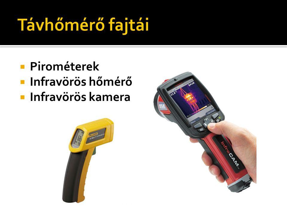 Pirométerek  Infravörös hőmérő  Infravörös kamera