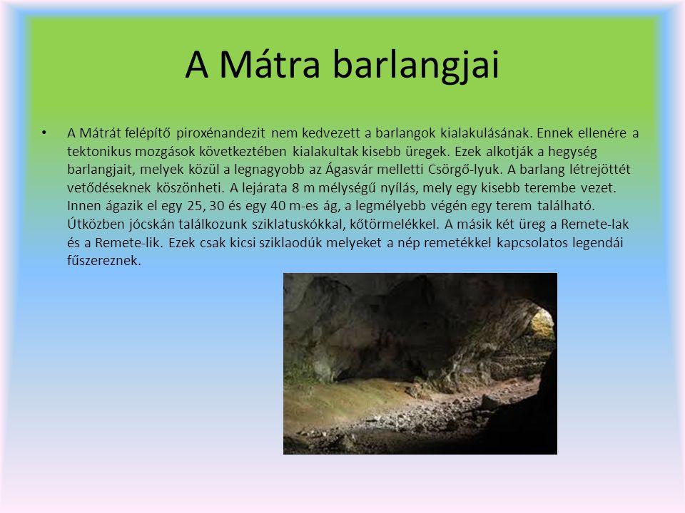 A Mátra barlangjai A Mátrát felépítő piroxénandezit nem kedvezett a barlangok kialakulásának. Ennek ellenére a tektonikus mozgások következtében kiala