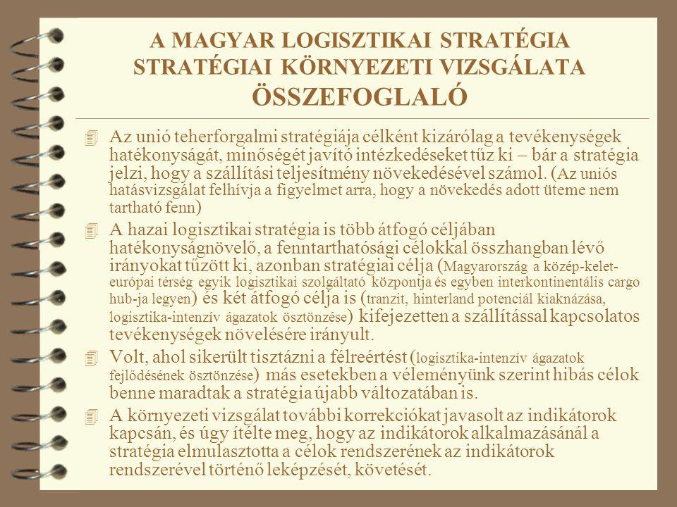 A MAGYAR LOGISZTIKAI STRATÉGIA STRATÉGIAI KÖRNYEZETI VIZSGÁLATA ÖSSZEFOGLALÓ 4 Az unió teherforgalmi stratégiája célként kizárólag a tevékenységek hat