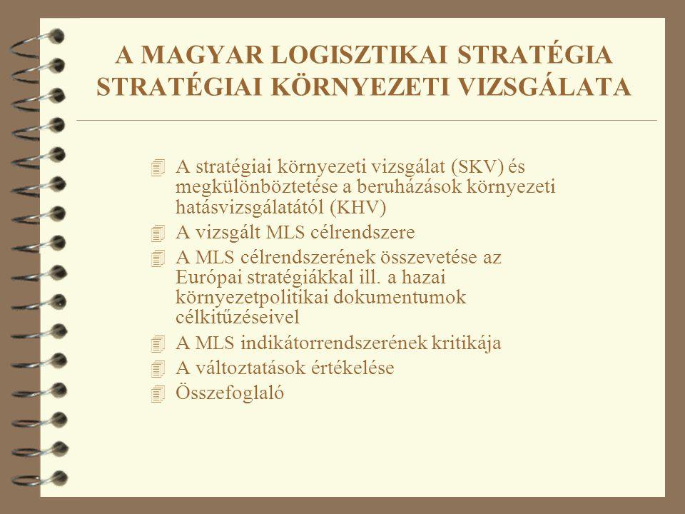 A MAGYAR LOGISZTIKAI STRATÉGIA STRATÉGIAI KÖRNYEZETI VIZSGÁLATA 4 A stratégiai környezeti vizsgálat ( SKV ) és megkülönböztetése a beruházások környezeti hatásvizsgálatától ( KHV ) 4 A vizsgált MLS célrendszere 4 A MLS célrendszerének összevetése az Európai stratégiákkal ill.