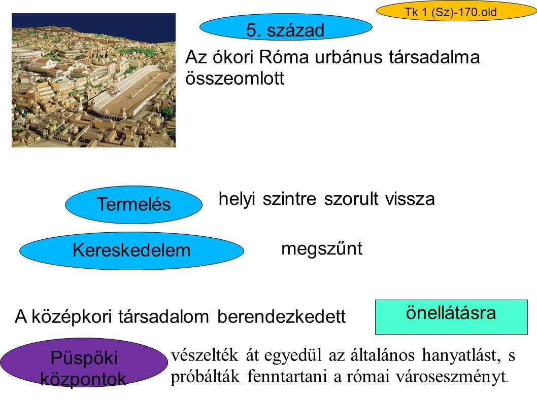 Az ókori Róma urbánus társadalma összeomlott Termelés Kereskedelem helyi szintre szorult vissza megszűnt önellátásra A középkori társadalom berendezke