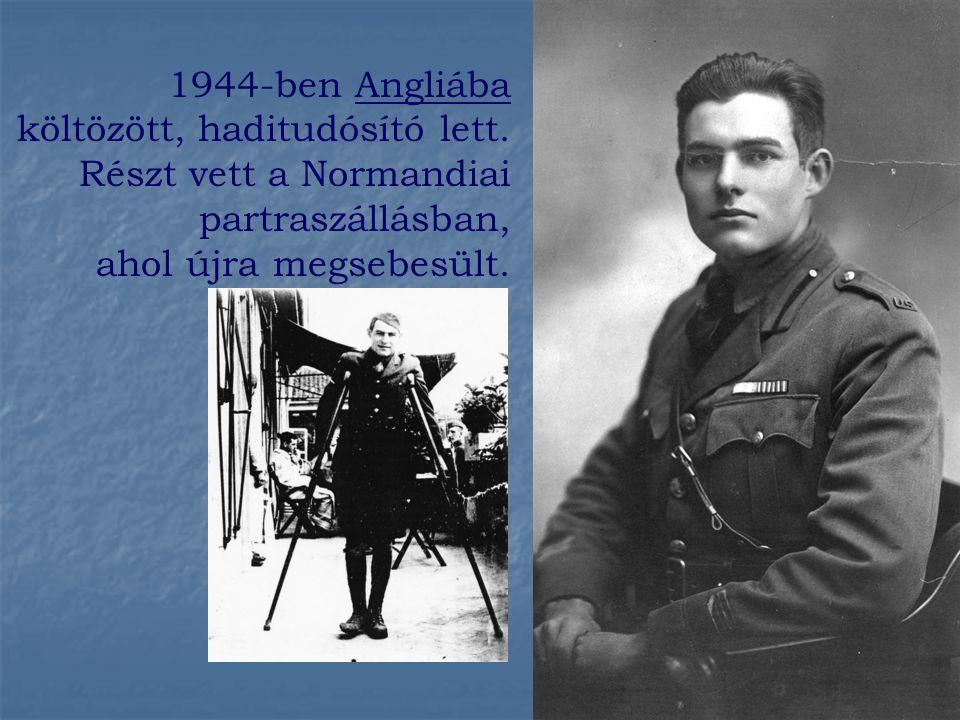 1944-ben Angliába költözött, haditudósító lett.
