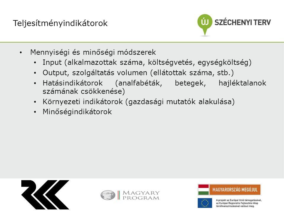 Mennyiségi és minőségi módszerek Input (alkalmazottak száma, költségvetés, egységköltség) Output, szolgáltatás volumen (ellátottak száma, stb.) Hatási