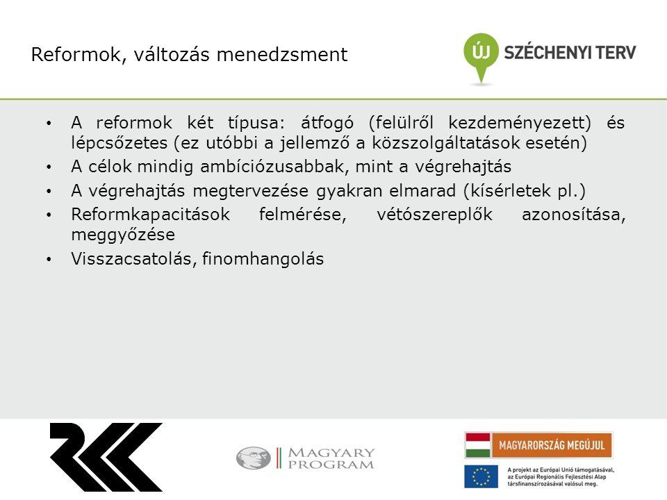 A reformok két típusa: átfogó (felülről kezdeményezett) és lépcsőzetes (ez utóbbi a jellemző a közszolgáltatások esetén) A célok mindig ambíciózusabba