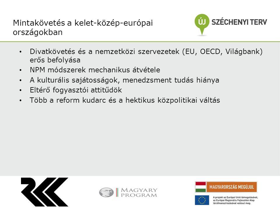Divatkövetés és a nemzetközi szervezetek (EU, OECD, Világbank) erős befolyása NPM módszerek mechanikus átvétele A kulturális sajátosságok, menedzsment