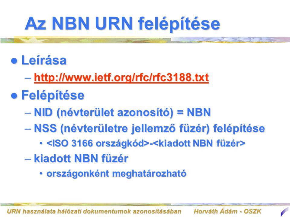 URN használata hálózati dokumentumok azonosításában Horváth Ádám - OSZK Az NBN URN felépítése Leírása Leírása –http://www.ietf.org/rfc/rfc3188.txt htt