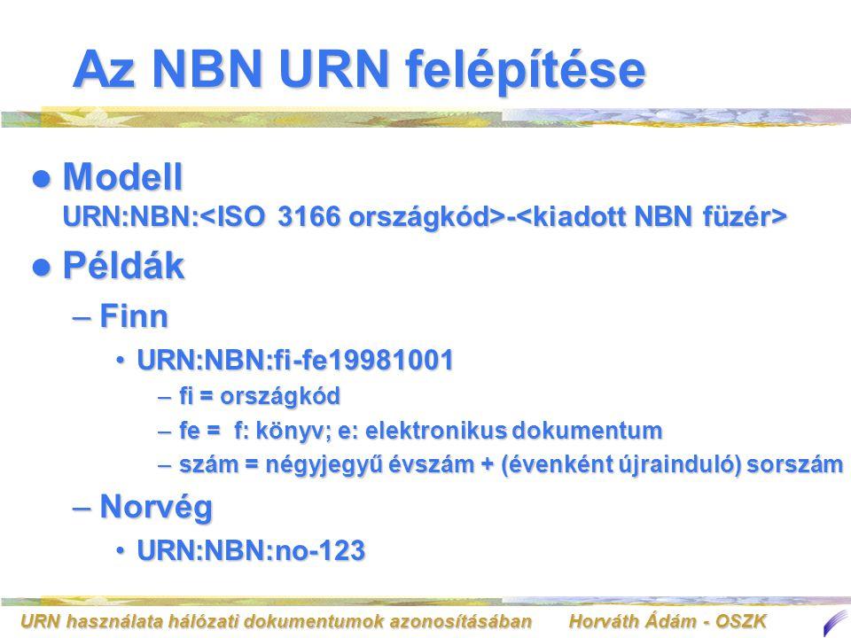 URN használata hálózati dokumentumok azonosításában Horváth Ádám - OSZK Az NBN URN felépítése Modell URN:NBN: - Modell URN:NBN: - Példák Példák –Finn URN:NBN:fi-fe19981001URN:NBN:fi-fe19981001 –fi = országkód –fe = f: könyv; e: elektronikus dokumentum –szám = négyjegyű évszám + (évenként újrainduló) sorszám –Norvég URN:NBN:no-123URN:NBN:no-123