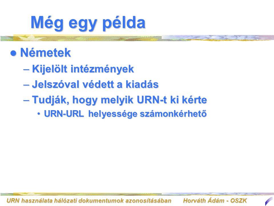 URN használata hálózati dokumentumok azonosításában Horváth Ádám - OSZK Még egy példa Németek Németek –Kijelölt intézmények –Jelszóval védett a kiadás