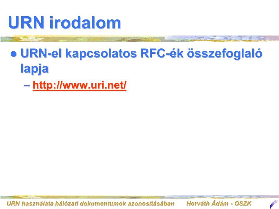 URN használata hálózati dokumentumok azonosításában Horváth Ádám - OSZK URN irodalom URN-el kapcsolatos RFC-ék összefoglaló lapja URN-el kapcsolatos RFC-ék összefoglaló lapja –http://www.uri.net/ http://www.uri.net/