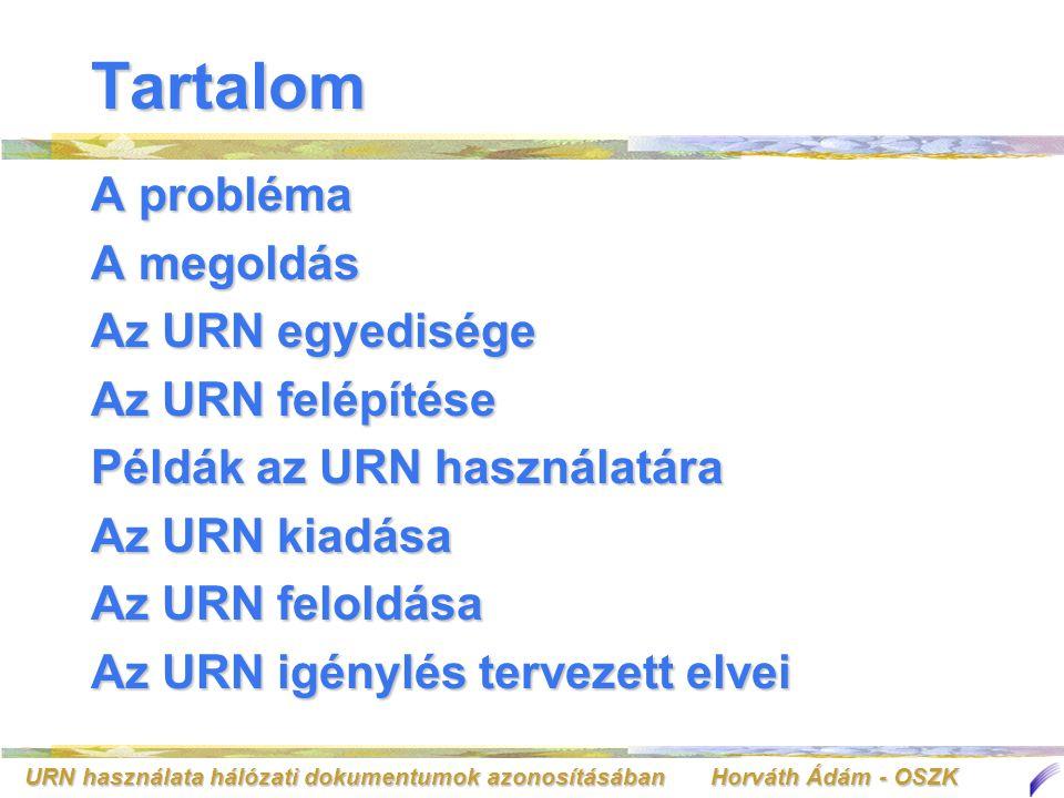 URN használata hálózati dokumentumok azonosításában Horváth Ádám - OSZK Az NBN URN kiadása Finn példa Finn példa –http://www.lub.lu.se/cgi-bin/nmurn.pl http://www.lub.lu.se/cgi-bin/nmurn.pl Norvég példa Norvég példa –http://www.nb.no/urn/generator/ http://www.nb.no/urn/generator/ My URN menüpontMy URN menüpont FeltételekFeltételek –a) A forrásban más URN nem lehet megadva Dublin Core metaadatként –b) Más URN nem hivatkozhat erre forrásra –c) A forrásnak léteznie kell a megadott URL-en