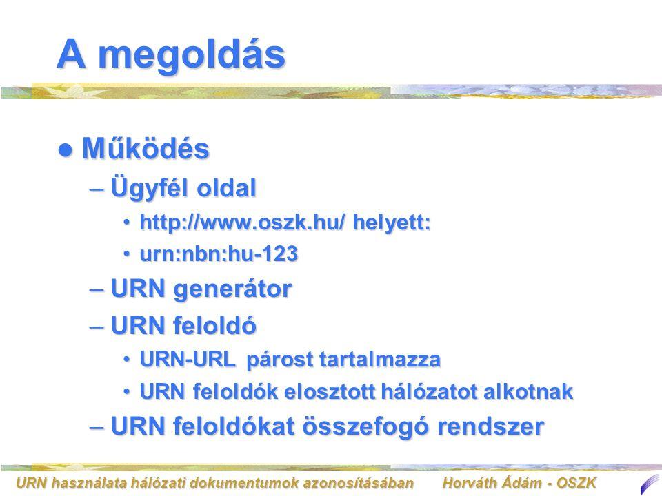URN használata hálózati dokumentumok azonosításában Horváth Ádám - OSZK A megoldás Az URN előnyei Az URN előnyei –Az URL helyességéért az URN azonosítót igénylő a felelős –Az URN szerver eszközöket tartalmaz az URL-ek tömeges módosítására –Nemzetközi szabványon alapul –Rendszerfüggetlen