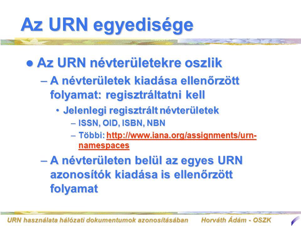 URN használata hálózati dokumentumok azonosításában Horváth Ádám - OSZK Az URN egyedisége Az URN névterületekre oszlik Az URN névterületekre oszlik –A
