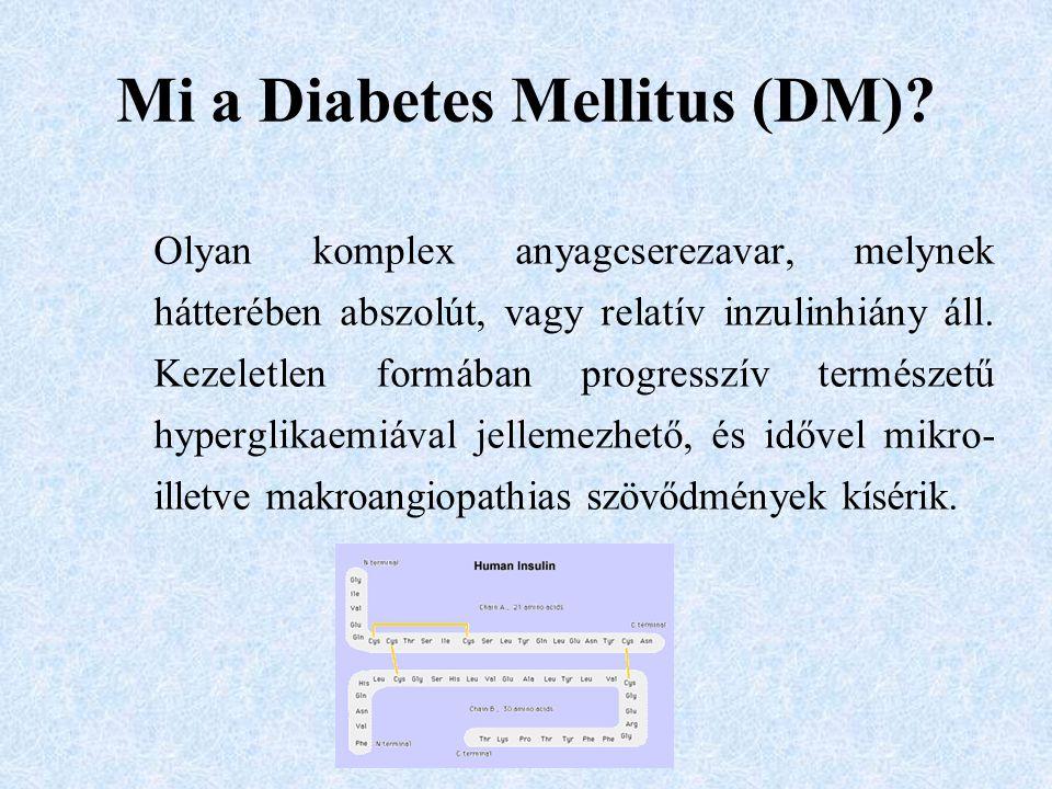 Mi a Diabetes Mellitus (DM)? Olyan komplex anyagcserezavar, melynek hátterében abszolút, vagy relatív inzulinhiány áll. Kezeletlen formában progresszí