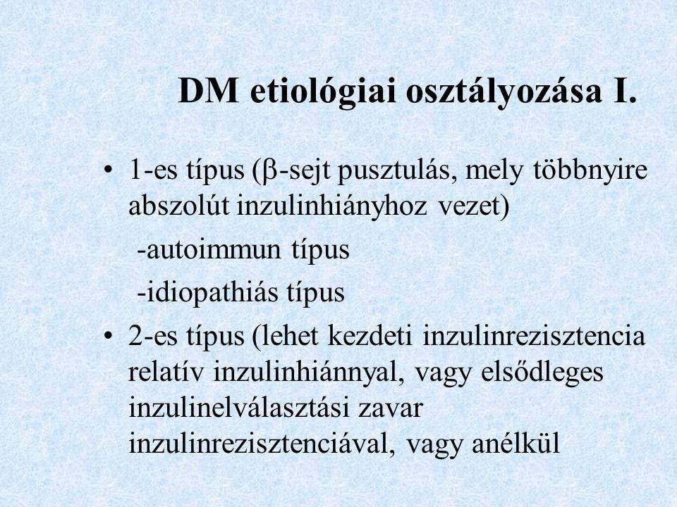 DM etiológiai osztályozása I. 1-es típus (  -sejt pusztulás, mely többnyire abszolút inzulinhiányhoz vezet) -autoimmun típus -idiopathiás típus 2-es