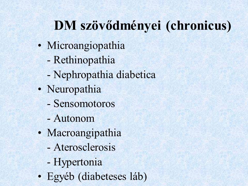 DM szövődményei (chronicus) Microangiopathia - Rethinopathia - Nephropathia diabetica Neuropathia - Sensomotoros - Autonom Macroangipathia - Ateroscle