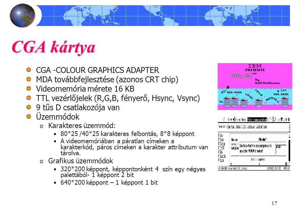 17 CGA kártya CGA -COLOUR GRAPHICS ADAPTER MDA továbbfejlesztése (azonos CRT chip) Videomemória mérete 16 KB TTL vezérlőjelek (R,G,B, fényerő, Hsync,