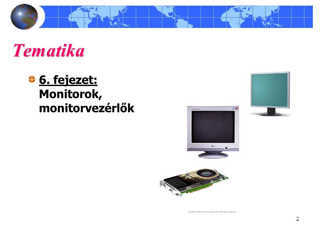 2 Tematika 6. fejezet: Monitorok, monitorvezérlők