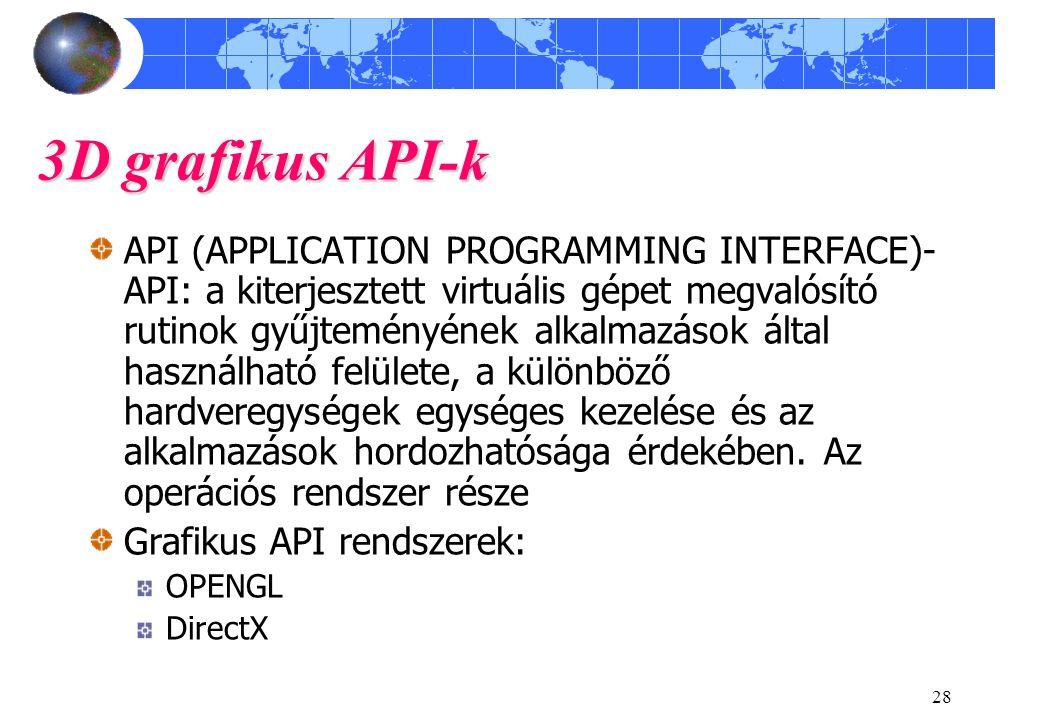 28 3D grafikus API-k API (APPLICATION PROGRAMMING INTERFACE)- API: a kiterjesztett virtuális gépet megvalósító rutinok gyűjteményének alkalmazások ált