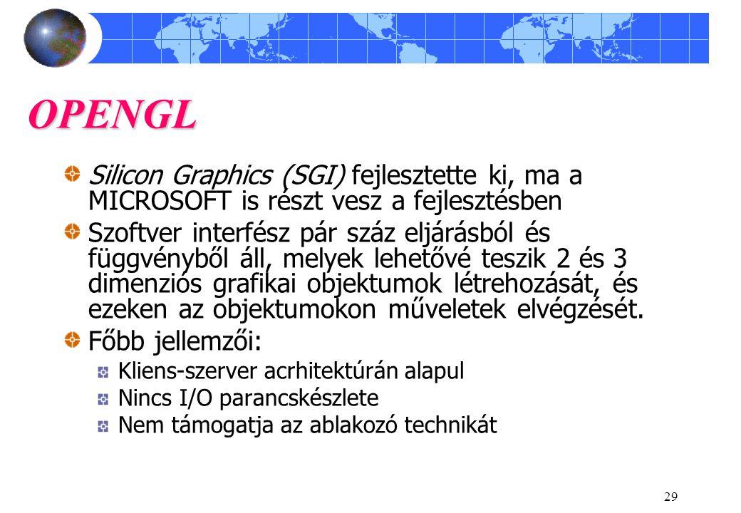 29 OPENGL Silicon Graphics (SGI) fejlesztette ki, ma a MICROSOFT is részt vesz a fejlesztésben Szoftver interfész pár száz eljárásból és függvényből á