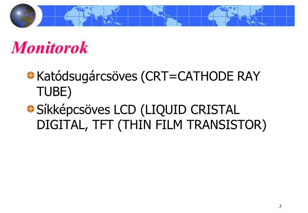 3 Monitorok Katódsugárcsöves (CRT=CATHODE RAY TUBE) Síkképcsöves LCD (LIQUID CRISTAL DIGITAL, TFT (THIN FILM TRANSISTOR)
